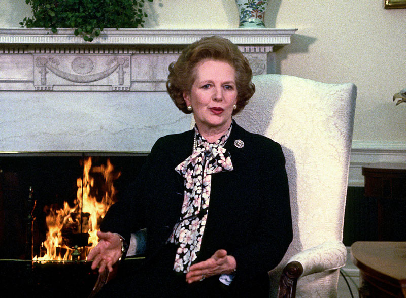 Prime Minister Margaret Thatcher of Great Britain makes a statement to the media as she meets United States President Ronald Reagan in the Oval Office of the White House in Washington, D.C. on Wednesday, February 20, 1985.  Their meeting lasted 2 hours.  Thatcher died from a stroke at 87 on Monday, April 8, 2013. Photo Credit: Arnie Sachs/CNP/AdMedia Photo via Newscom