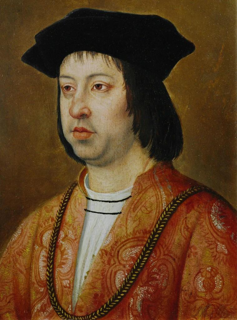 """FERNANDO II """"El Católico"""" (1452-1516). Rey de Aragón (y de Castilla (1474-1504). Rey Fernando el Católico Exposicion el linaje del emperador. circa 1490-1500. Oleo sobre lienzo."""