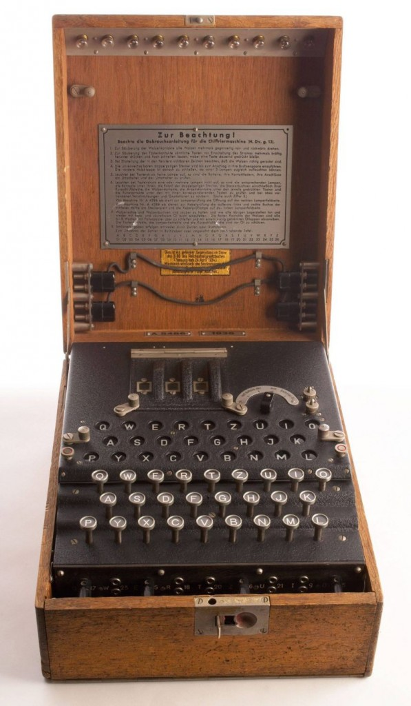 Enigma, the German cipher machine created codes for sending messages during World War 2. Using early computers, Allied intelligence at Benchley Park decoded only 10% of Enigma communications in 1945. (BSLOC_2014_8_108)