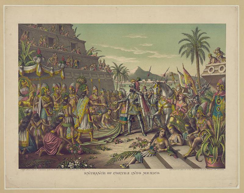 Encuentro entre Hernán Cortés y Moctezuma en 1519 Aztecas