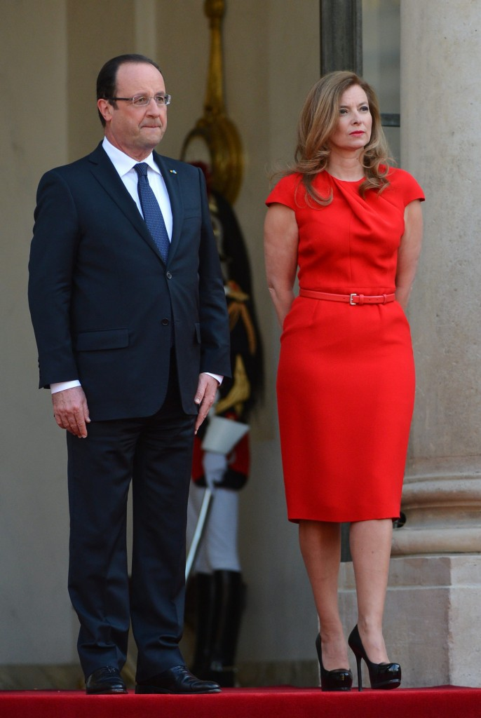 State dinner at the Elysee Palace in honor of the Polish President Bronislaw Komorowski and his wife Anna Komorowska in Paris Francois Hollande;Valerie Trierweiler