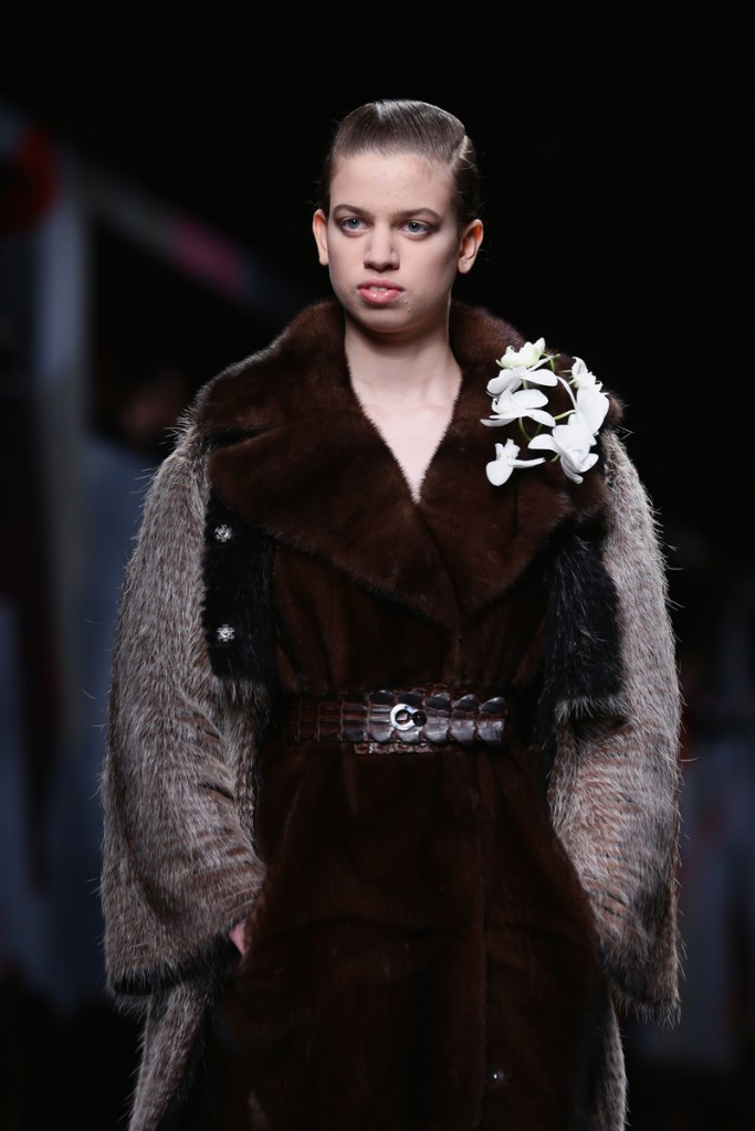 MILAN, ITALY - FEBRUARY 20: Model Lily McMenamy walks the runway during the Fendi show as part of Milan Fashion Week Womenswear Autumn/Winter 2014 on February 20, 2014 in Milan, Italy. (Photo by Stefania D'Alessandro/Getty Images)