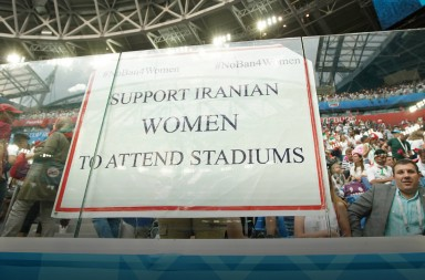 June 15, 2018 - St Petersburg, United Kingdom - A banner supporting Iranian Women, who are banned from attending matches in their home country during the FIFA World Cup 2018 Group B match at the St Petersburg Stadium, St Petersburg. Picture date 15th June 2018. Picture credit should read: David Klein/Sportimage(Credit Image: © David Klein/CSM via ZUMA Wire)