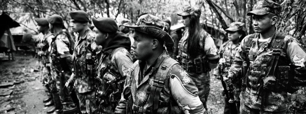 CAUCA, COLOMBIA - JULY 2016: Guerrilla members of the Western Bloc Alfonso Cano in training. For fty-two years, the FARC-EP has fought in the con ict in Colombia as an armed movement. With the peace agreements reached in Havana on August 24, 2016, FARC-EP begins its march towards a political movement. ( Photo by Alvaro Ybarra Zavala / Getty Images Reportage)