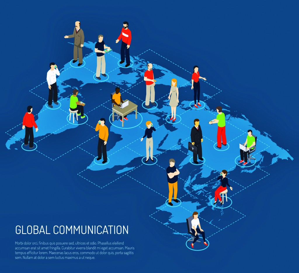 Isometric poster of people connected to global communication on world map dark blue background vector illustration