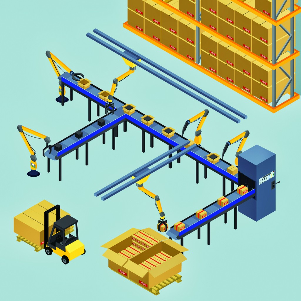 vector illustration. automatic belt conveyor, production line. robots shift boxes, packaging. isometric, infographics, 3D
