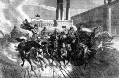 El Emperador romano Neron corriendo una carrera de cuadrigas en el Coliseo. Emporer Nero contending for the chariot prize in the Grand Circus Ancient Rome M00978618 #0222829