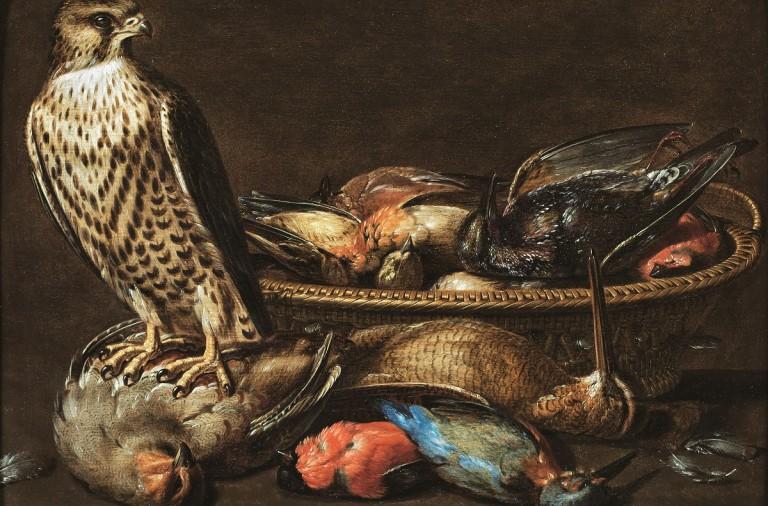 Pintura de un halcón peregrino y su presa