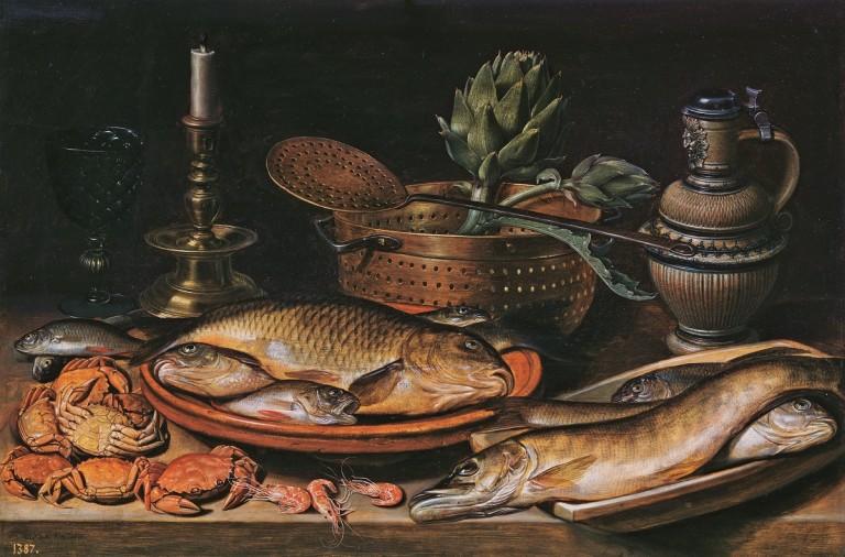 Bodegón con pescado y verduras