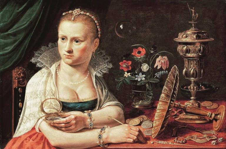 Mujer sentada con objetos preciosos