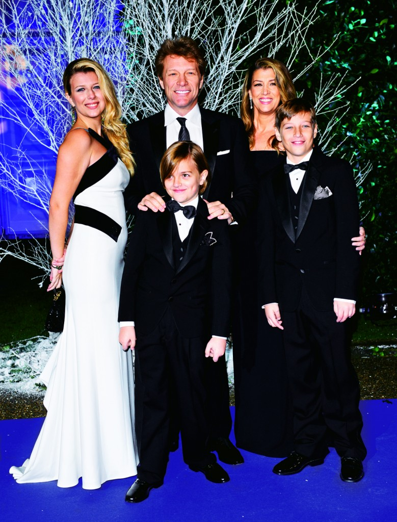 LONDON, ENGLAND - NOVEMBER 26: (L to R) Stephanie Rose Bongiovi, Jon Bon Jovi, Romeo Bongiovi, Dorothea Hurley and Jacob Bongiovi attend the Winter Whites Gala in aid of Centrepoint at Kensington Palace on November 26, 2013 in London, England. (Photo by Karwai Tang/WireImage)