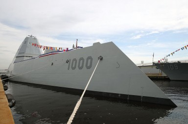 BALTIMORE, MD - OCTOBER 13:  The US Navy's new guided missile destroyer DDG 1000 USS Zumwalt is moored to a dock on October 13, 2016 in Baltimore, Maryland. The Zumwalt is the lead ship of a class of next-generation multi-mission surface combatants and is named for Adm. Elmo R. Zumwalt, former chief of naval operations. The ship will be commissioned on October 15. (Photo by Mark Wilson/Getty Images)