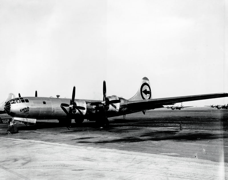 circa 1945: The Enola Gay, the B-29 bomber which dropped the first atomic bomb on Hiroshima during World War II, now at Roswell Army Airfield in New Mexico. (Photo by Keystone/Getty Images)