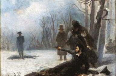 Adrian Markovich Volkov     Volkov, Adrian Markovich (1827-1873), Duel between Alexander Pushkin and Georges d'Anthès, Oil on canvas, Painting, 1869, Russia, A. Pushkin Memorial Museum, St. Petersburg. Credit: Album / culture-images/fai