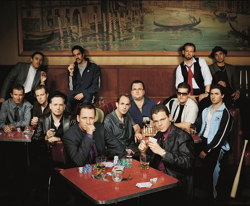 ca. 2007 --- Andrew McCormack; David Sacks; Elon Musk; Jawed Karim; Jeremy Stoppelman; Keith Rabois; Kenny Howery; Luke Nosek; Max Levchin; Peter Thiel; Premal Shah; Reid Hoffman; Roelof Botha --- Image by © Robyn Twomey/Corbis Outline
