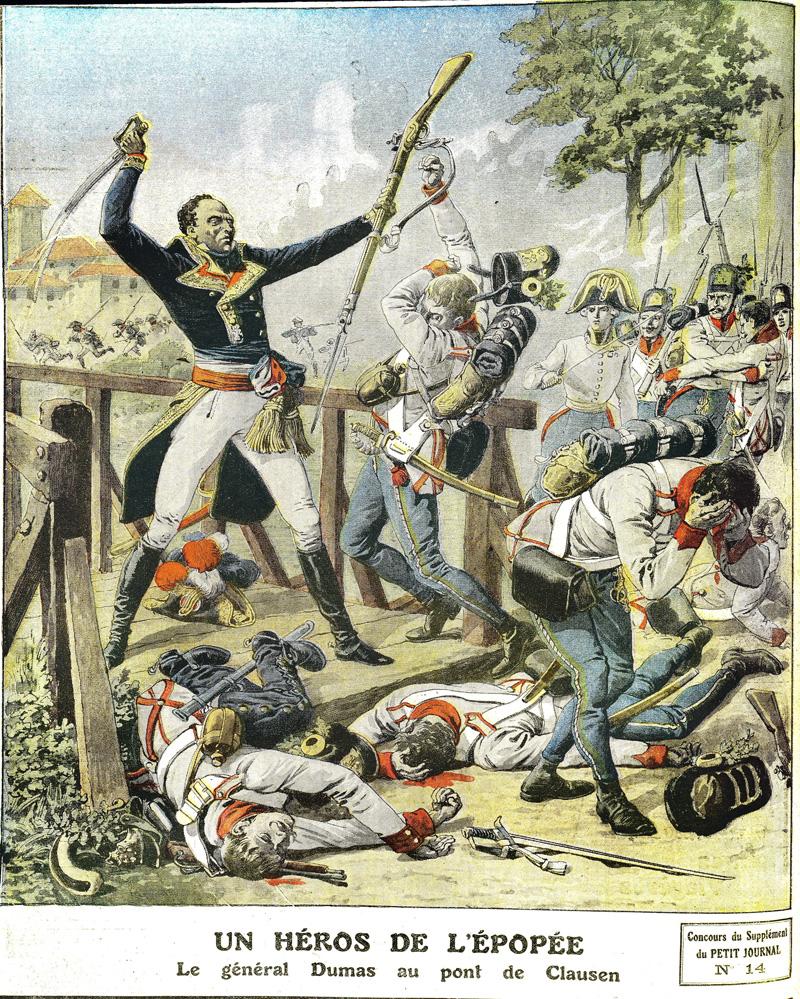 """El padre de Alejandro Dumas defendiendo el puente de Clausen General Dumas (1762-1806), father of Alexandre Dumas, defending the bridge of Clausen (Tyrol), in 1797. """"Le Petit Journal"""", May 1912. RVB-10937"""