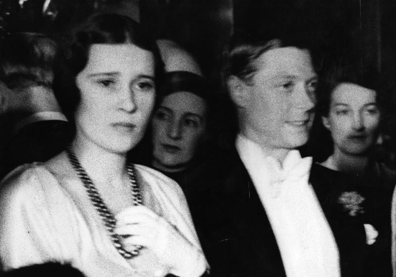 29th April 1932: The Duke of Windsor (1894 - 1972), as Edward, Prince of Wales, with Thelma, Lady Furness, at the midnight performance of the film 'Lilly Christine' at the Plaza, Haymarket, London. (Photo by Fox Photos/Getty Images)