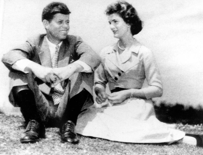 John F Kennedy and Jackie on their engagement. June 1953.