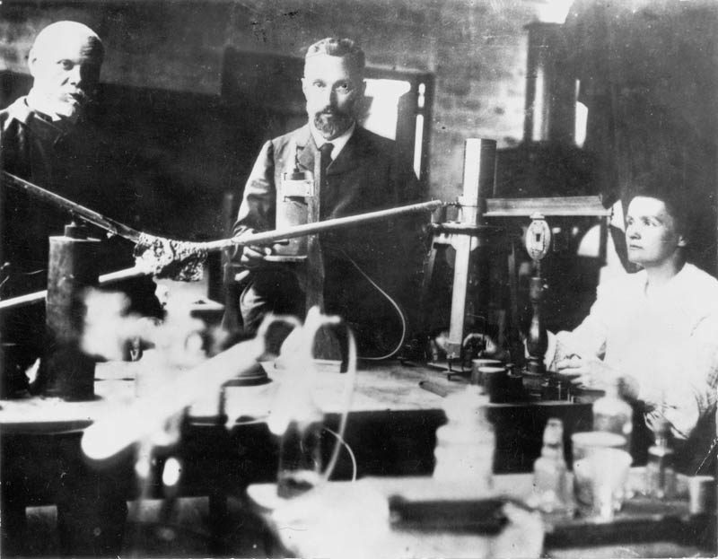 Marie Curie (1867-1935) Polish-born French physicist who, with her husband Pierre (1859-1906), centre, carried out research on radioactivity and shared the Nobel prize for physics with him and with Henri Becquerel in 1903