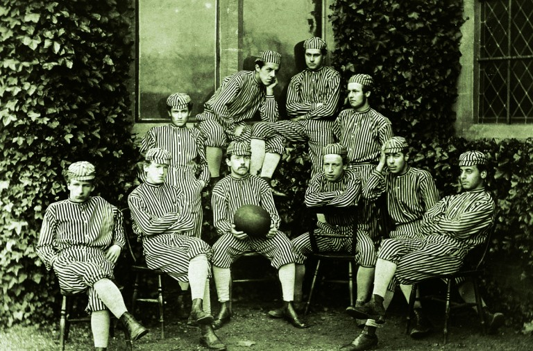 Sport, Football, pic: 1868, The Harrow Football team, Back four, left-right, Crake, Law, Fryer, Palmer, Seated, left-right, Warwick, Pidcock, Walker, Lord Kilmarnock, Smith, Apcar  (Photo by Bob Thomas/Popperfoto/Getty Images)