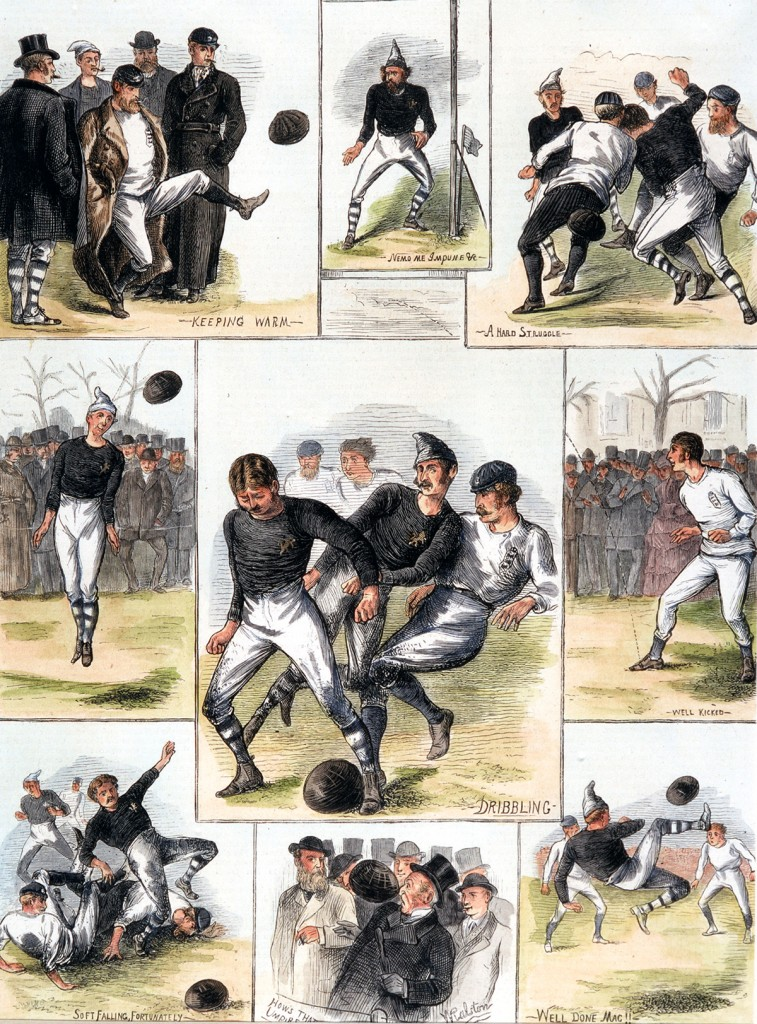 Sport, Football, November 1872, Scotland 0 v England 0, A hand-coloured engraving depicting incidents from the historic first match between Scotland and England, The game was played on the West of Scotland Cricket Ground, watched by a crowd of just 4,000 people, A photographer was arranged but he left without taking any pictures because the players would not guarantee to buy any (Photo by Popperfoto/Getty Images)