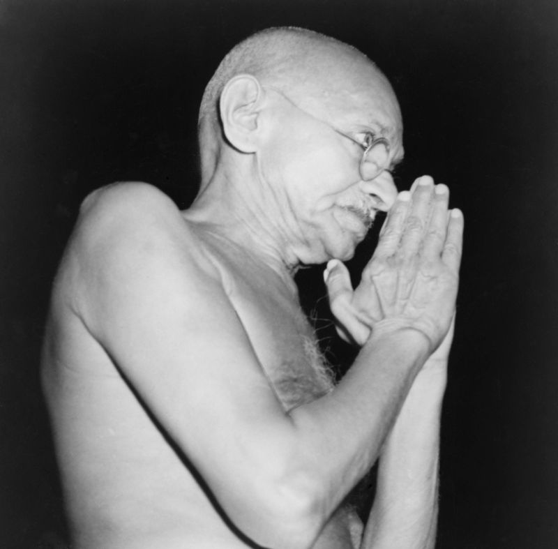 Mahatma Gandhi (1869-1948) in 1946, the year of violence between Moslems and Hindus, that ultimately forced Gandhi to accept the partition of subcontinent into Pakistan and India.