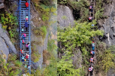 In this composite photo, local children climb up an 800-meter cliff on a steel ladder on 19 November 2016 (left) and on a vine ladder on 14 May 2016 (right) in a mountainous area in Atuler village, Zhaojue county, Liangshan Yi autonomous prefecture, southwest China's Sichuan province.  Children living in a mountaintop village in Southwest China who were using rickety rattan ladders to climb the 800-meter cliff to reach home now have a much safer way: a steel ladder. According to Beijing News, the new ladder connecting Atuleer with the rest of Liangshan Yi autonomous prefecture was completed early in November. Around 20 children who attend the boarding school at the foot of the mountain are now able to go home more safely to celebrate the Yi lunar new year. The steel ladder, complete with handrails, was built at a cost of 1 million yuan ($148,000), with the prefecture government and Zhaojue county equally sharing the cost. Apart from making the trip safer, the new ladder has also reduced the journey time by an hour. But due to safety concerns, the children can go home only during the summer and winter vacations as well as Yi lunar new year, according to the school rules. ©Contacto