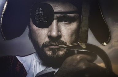FYMF2K pirate with hat and eye patch holding a sword. Image shot 05/2015. Exact date unknown.