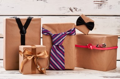 Present boxes and accessories. Necktie, fashion belt and suspenders. Gifts for family.