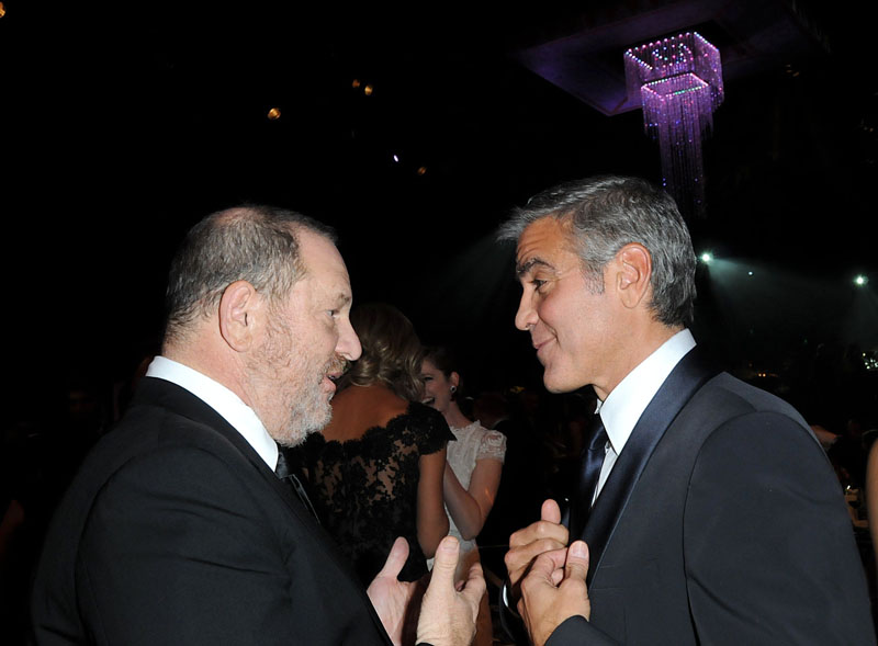 Image #: 16725279 Harvey Weinstein and George Clooney are shown in the audience during the 18th annual Screen Actors Guild Awards held at the Shrine Auditorium in Los Angeles on January 29, 2012. Ron Wolfson /Landov