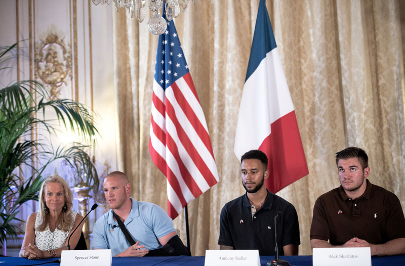 The three US soldiers, Spencer Stone, Alek Skarlatos and Anthony Sadler, who have mastered Ayoub El-Khazzani in the Thalys train, which connected Paris to Amsterdam, gave a press conference with Jane D. Hartley (US Ambassatrice in Paris ), the Embassy of the United States in Paris. France, August 23, 2015, photo by Nicolas Messyasz / Sipa Press/NICOLASMESSYASZ_2015_08_23a_019a/Credit:NICOLAS MESSYASZ/SIPA/1508232102 Conferencia con las personas que ayudaron a la deteccion del terrorista que ataco el tren Amsterdam Paris 110/cordon press *** Local Caption *** 00721347