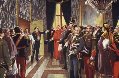President of the council of ministers, Praxedes Sagasta announces the birth of King Alfonso XII of Spain 1886