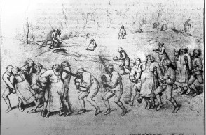 Drawing, 1564, Albertinium, Vienna | Pieter Breughel [the Elder], ÇThe Dancing Mania. Pilgrimage of the Epileptics to the Church at MolenbeekÈ. Also called ÇThe dance of St. John or St. VitusÈ, probably a form of mass hysteria. Large crowds formed circles and danced in wild delirium for hours. ÇLes plerins de Saint Jean qui dansent ˆ MeulenbeeeckÈ.  Gravure dÕaprs un dessin de Pieter Brueghel l'Ancien de 1564.