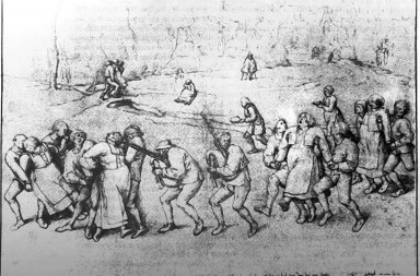 Drawing, 1564, Albertinium, Vienna | Pieter Breughel [the Elder], ÇThe Dancing Mania. Pilgrimage of the Epileptics to the Church at MolenbeekÈ. Also called ÇThe dance of St. John or St. VitusÈ, probably a form of mass hysteria. Large crowds formed circles and danced in wild delirium for hours. ÇLes plerins de Saint Jean qui dansent ˆ MeulenbeeeckÈ.  Gravure dÕaprs un dessin de Pieter Brueghel l'Ancien de 1564.