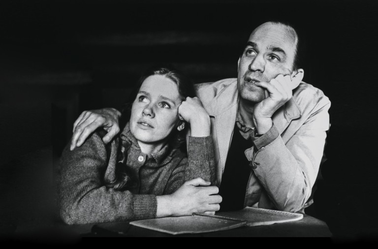 "(Original Caption) 4/5/1968- Stockholm, Sweden- Ingmar Bergman and Actress Liv Ullman talk about ""Hour of the Wolf"" during a break in shooting of that film in Stockholm. Bergman has directed Liv in two successive movies and a third is planned. There has been talk that Bergman may give Liv top billing in his personal life by making her his wife as well as his leading lady."
