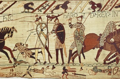 BAYEUX TAPESTRY.  Harold's death at the Battle of Hastings (right).