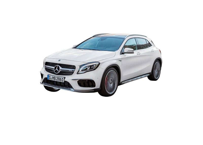 Mercedes-AMG GLA 45 4MATIC, Exterieur, zirrussweiß;Kraftstoffverbrauch kombiniert: 7,4 l/100 km, CO2-Emissionen kombiniert: 172 g/km* Mercedes-AMG GLA 45 4MATIC, exterior, cirrus white;Fuel consumption combined: 7,4 l/100 km; Combined CO2 emissions: 172 g/km*