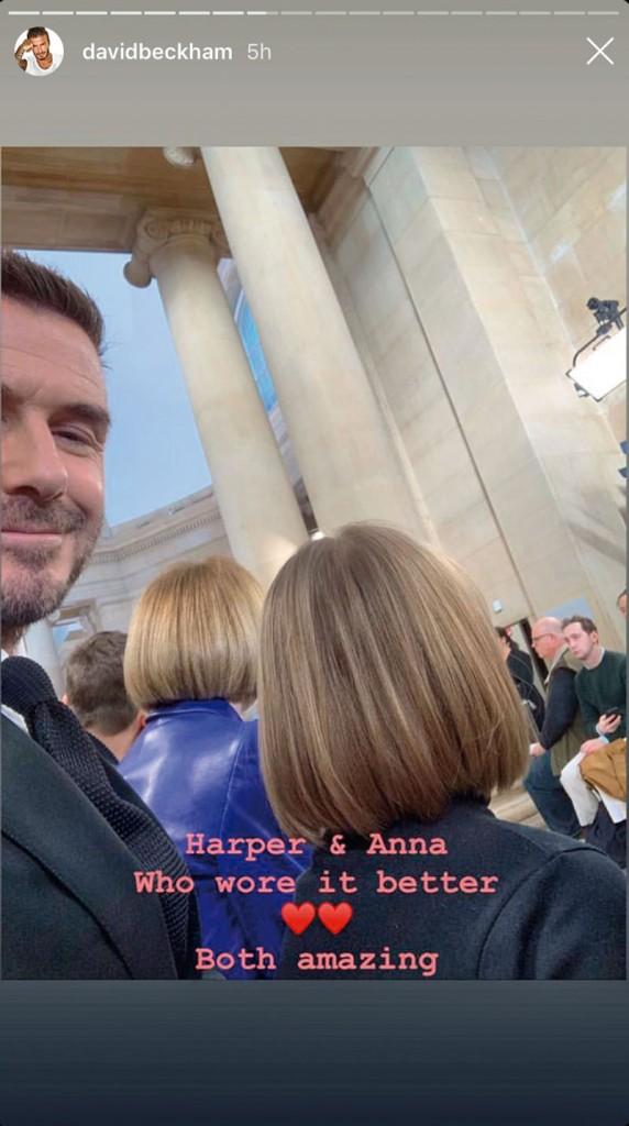 harper beckham y anna wintour mismo peinado