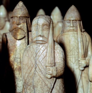 The Lewis Chessmen, (Norwegian?), c1150-c1200. Wild-eyed berserkers biting their shields from a collection of ninety-three pieces found at Uig on the Isle of Lewis, Outer Hebrides, Scotland. Taking the form of seated kings and queens, mitred bishops, knights on their mounts, standing warders and pawns in the shape of obelisks, most of them are made from Walrus ivory, and a few from whale teeth. From the British Museum's collection. (Photo by CM Dixon/Print Collector/Getty Images)