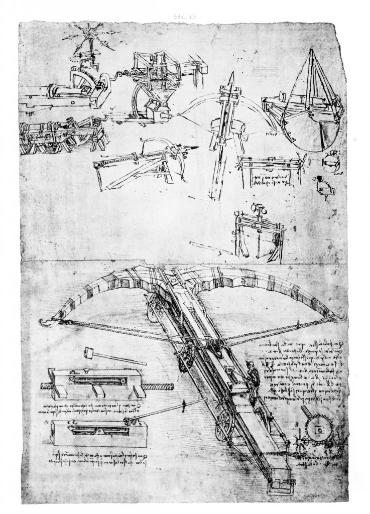 Giant crossbow, technical and mechanical drawings from a notebook, Leonardo da Vinci (1452-1519)