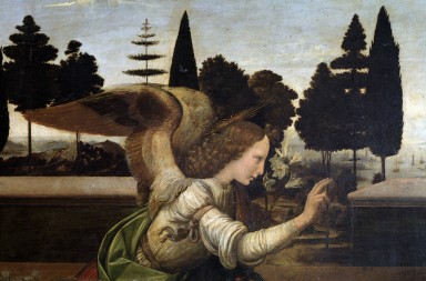 Detail of The Annunciation by Leonardo da Vinci