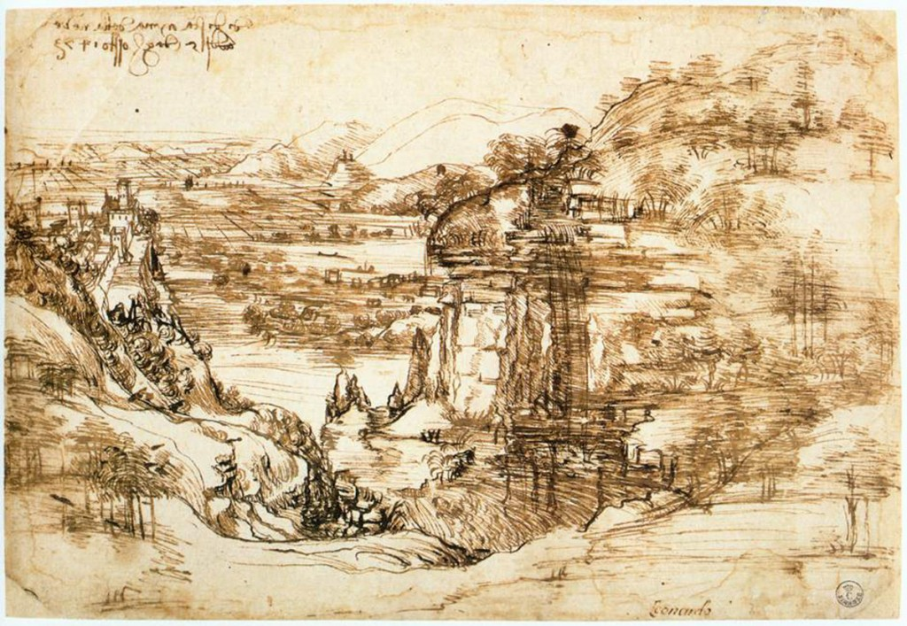 Leonardo da vinci, Landscape drawing for Santa Maria della Neve on 5th August 1473